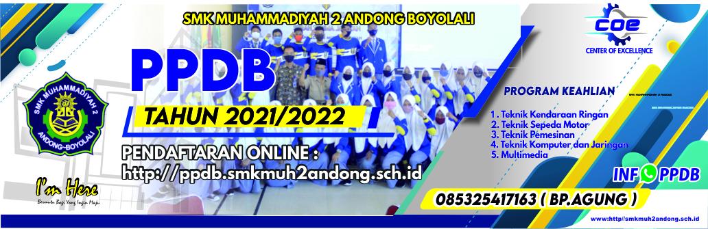 PPDB SMK Muh 2 Andong TP. 2021/2022 Sudah Dibuka